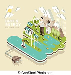 green energy - flat 3d isometric design of green energy