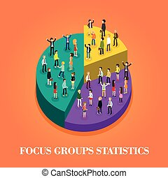 focus group statistics - flat 3d isometric design of focus...