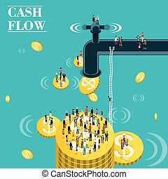 cash flow - flat 3d isometric design of cash flow