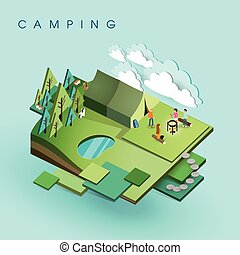 camping activity - flat 3d isometric design of camping...