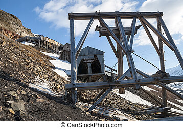 Abanodoned coal mine station in Longyearbyen, Svalbard -...