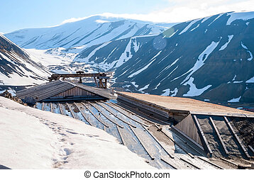 Abanodoned coal mine station in Longyearbyen, Svalbard -...