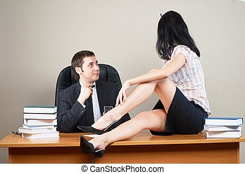 Boss and him secretary - Young businessmen and...
