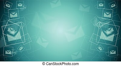Abstract tech banner with letters envelopes