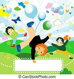 kids playing - children playing; joyful design for kids