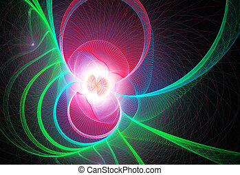 Fractal illustration of abstract neon technology circles