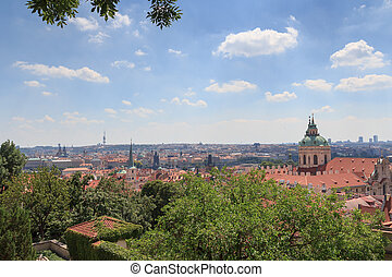 Panorama of Mala Strana Lesser Town and St Nicholas Church,...