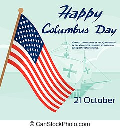 Happy Columbus Day Ship Holiday Poster United States America...