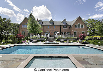 Mansion with swimming pool - Large brick home with deck and...