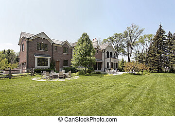 Large brick home and back yard