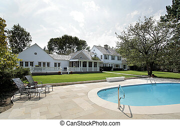 Luxury home with swimming pool - Rear view of luxury home...