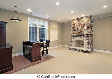 Basement with brick fireplace - Basement in new construction...