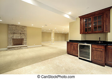 Basement with bar and fireplace - Basement in new...
