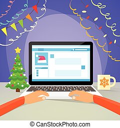 Laptop New Year Hands Type Using Computer Internet Christmas Sale Decoration