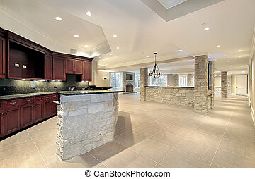 Stone bar and kitchen in basement - Lower level stone bar...