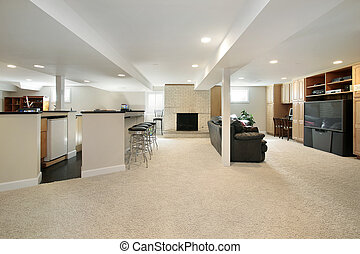 Lower level with stools - Lower level with bar stools and...