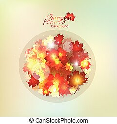 Autumn pattern with colorful translucent leaves. The circle...