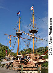 Replica of Colonial-era ships at the Jamestown Settlement in...