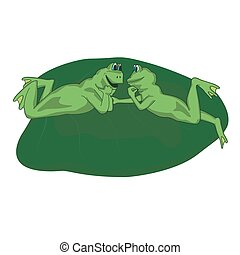 two frog lovers lie on the sheet