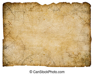 old nautical treasure map isolated on white - nautical map...