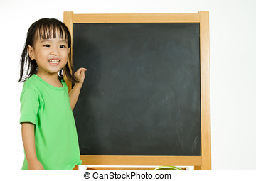 Chinese little girl with blank blackboard