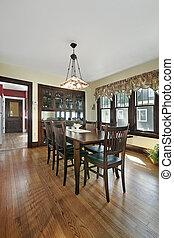 Wood paneled dining room