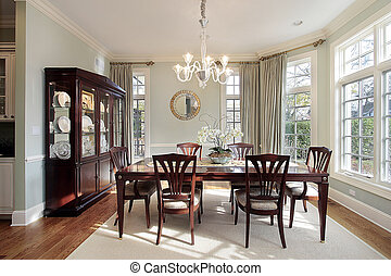 Dining room with bay windows - Dining room in luxury home...