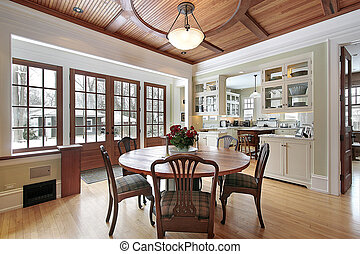 Dining room in earth tones - Dining room of earth tones with...