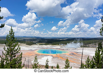 Yellowstone Grand Prismatic Spring - National park full of...