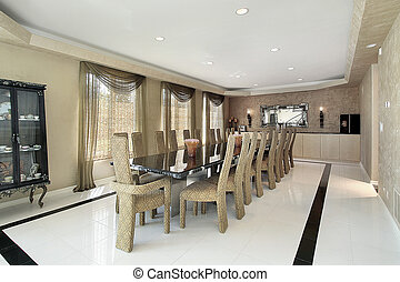 Dining room with marble table