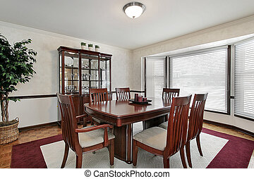 Dining room with bay windows - Dining room in suburban home...