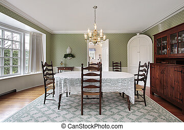 Dining room with curved bay window
