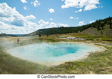 Thermal pool yellowstone - Colorful thermal pool in...