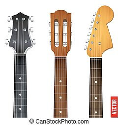 Set of Guitar neck fretboard and headstock Vector...