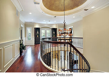 Second floor landing with large oval on ceiling