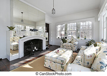 Sun room with mirrors - Sun room with fireplace and wall of...