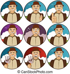 face expressions-villager - Collection of nine different...