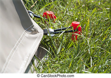 Red tent peg