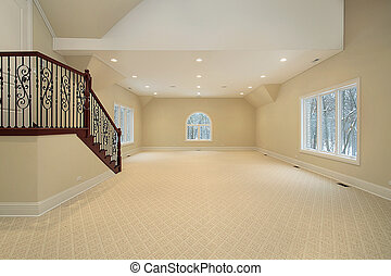 Large bonus room ini new construction suburban home