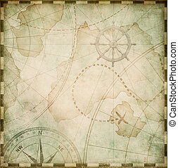 old abstract pirates map stylization - aged square nautical...