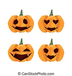 Illustration of funny halloween, origami pumpkins emoticons...