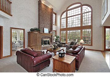 Family room in suburban home - Family room in luxury home...
