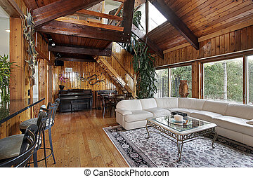Wood family room - All wood family room with loft and...