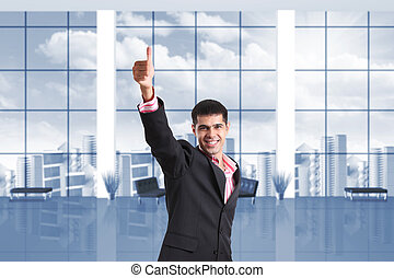 Happy businessman shows thumbs up sign