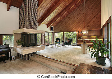 Family room with brick fireplace - Family room in luxury...