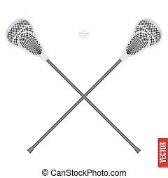 Lacrosse sticks and ball. Equipment Front View - Lacrosse...