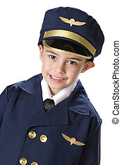Little Uniformed Pilot - Head and shoulders image of a...