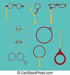 Monocles, Pince-Nez, Lorgnette. - Eyeglasses frames set....