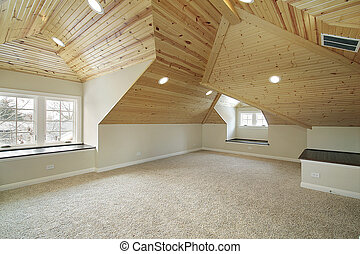 Loft in new construction home - Loft with wood ceiling in...