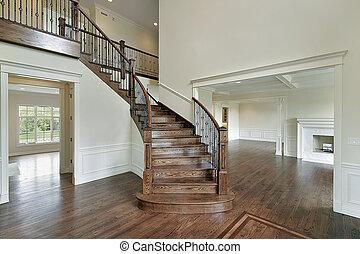 vestíbulo, de madera, escalera